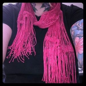 Accessories - Pink Sparkly Fringe Scarf